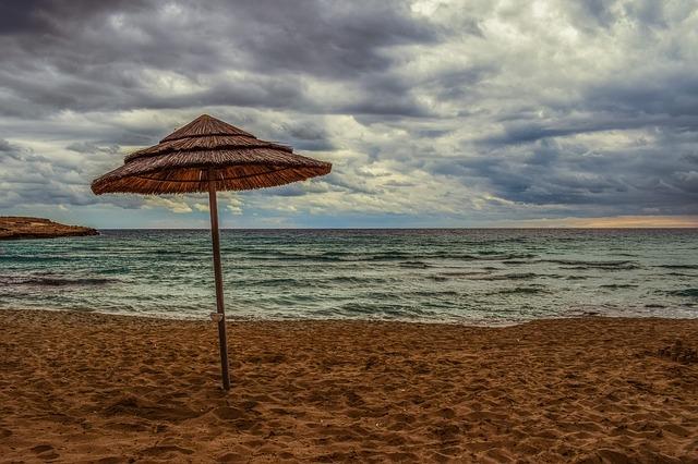 palapa on barren beach