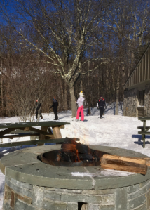 Fire pit at cross-country ski center