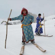 Altay skier in fancy coat