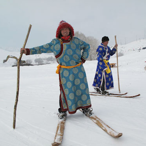 Altay skier in fancy coat