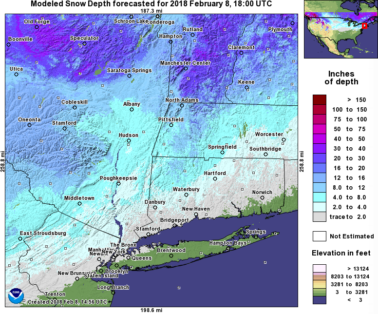 NWS snow depth NE US