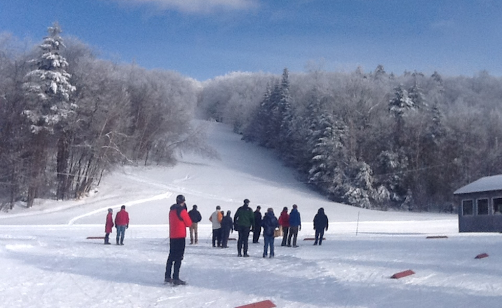 People looking at Prospect Mtn ski slope