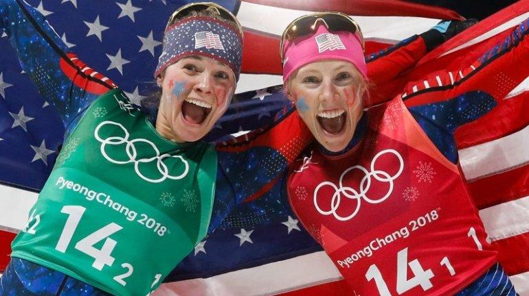 Jessica Diggins and Kikkan Randall, cross-country team sprint winners