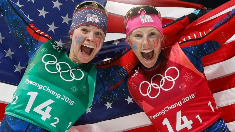 Jessica Diggins and Kikkan Randall, cross-country team sprint winners