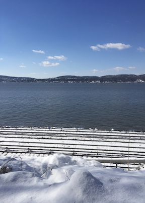 snow rails river and sky