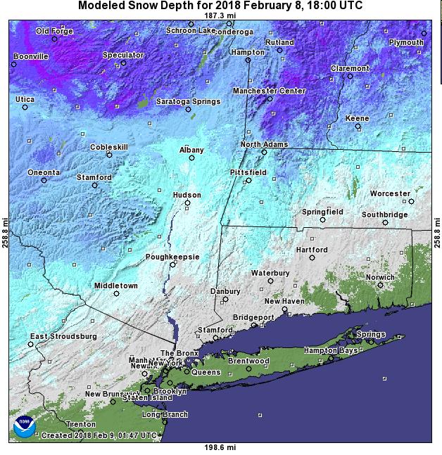 Snow depth NY Hudson valley, Catskills, Berkshires March 6 2018