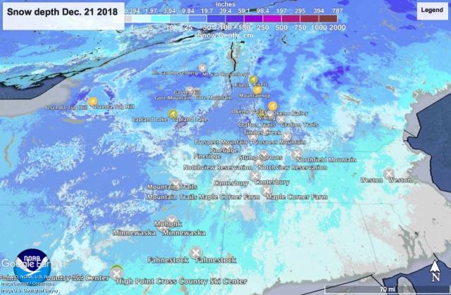 NOHRSC snow depth map of northeast US