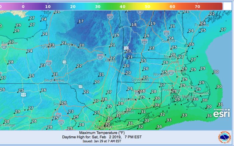 Max temp projected for Saturday Feb. 2