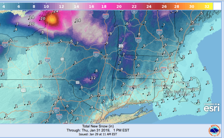 Total snowfall projected as of January 31