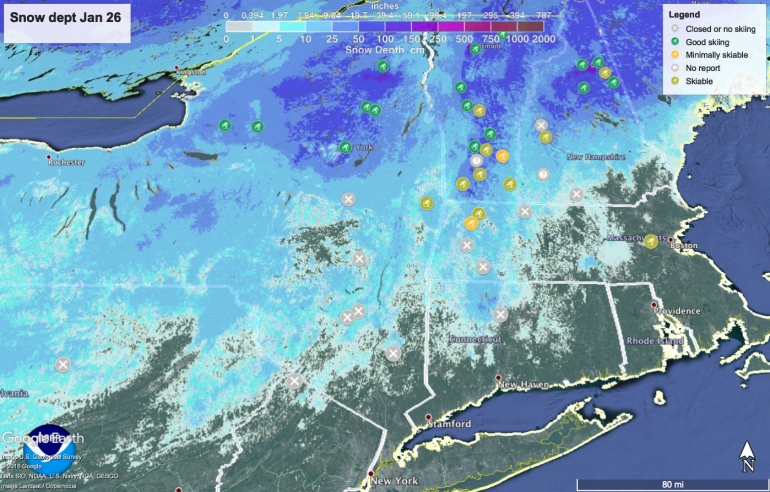 Snow depth in northeast US, January 26