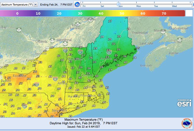 Max temps forecast across northeast US Feb. 24