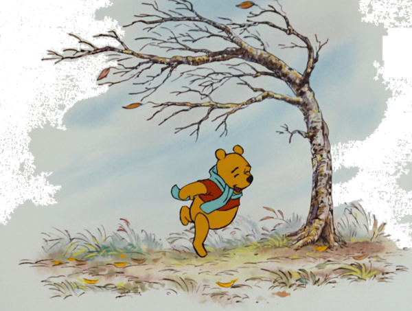 Winnie the Pooh on a blustery day