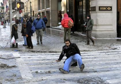 man slipping on crosswalk