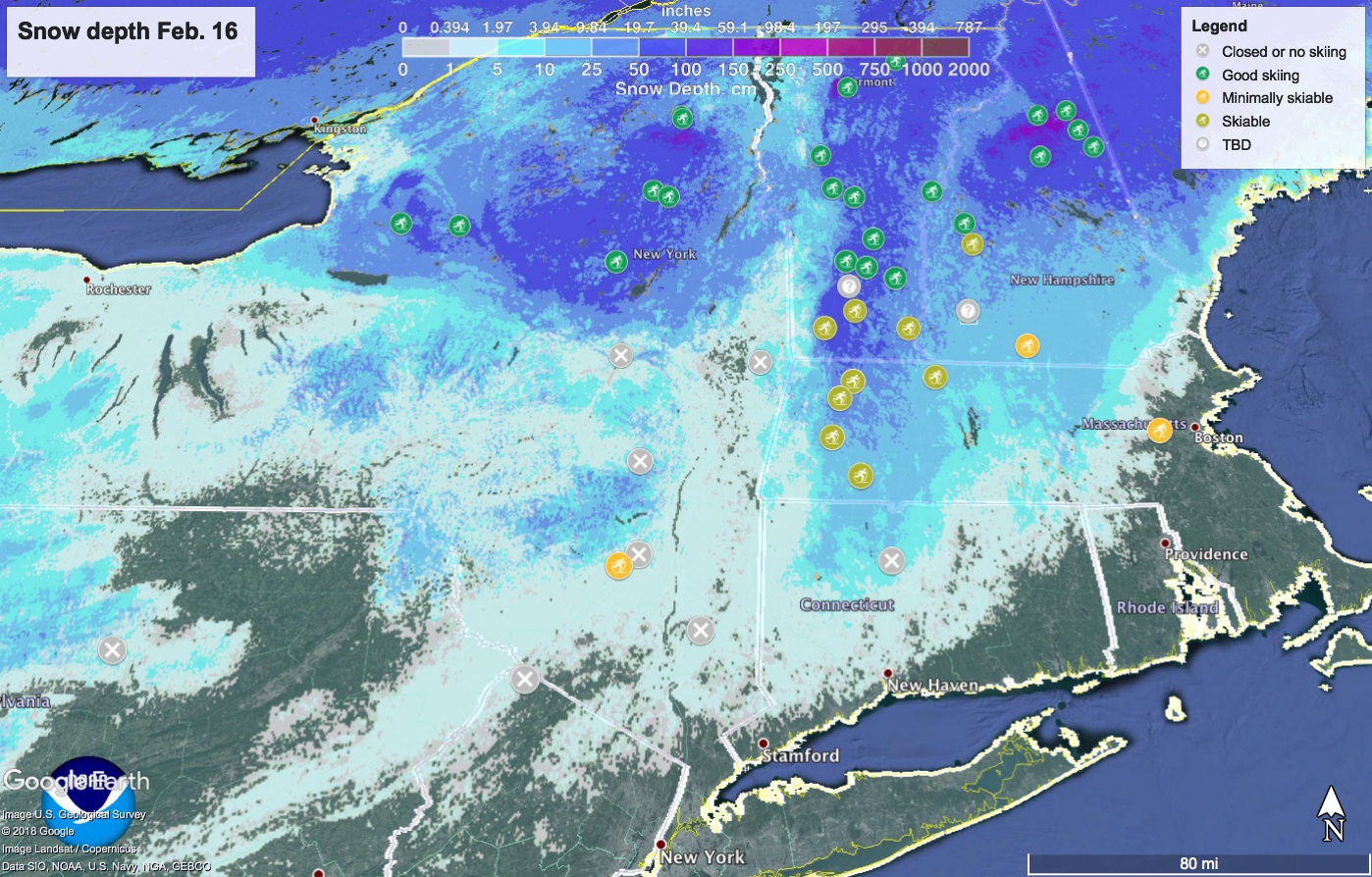 Snow depth in northeast US February 16