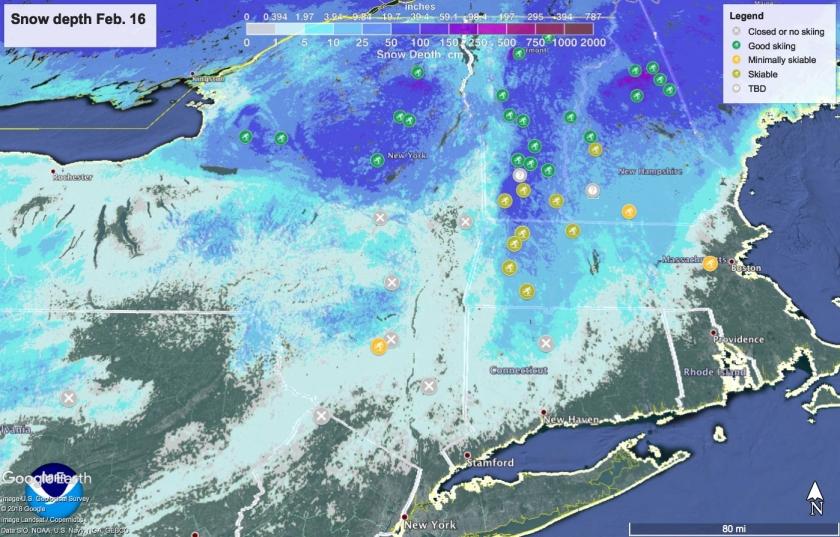 Snow depth in northeast US February 16