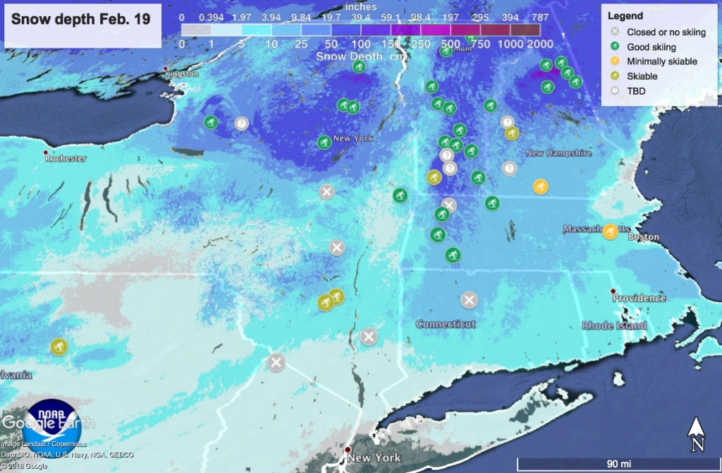 Snow depth map of northeast US, Feb. 19
