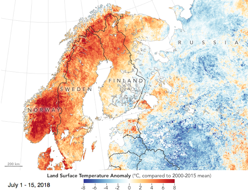 NASA Earth Observatory Scandinavia ground temp July 2018