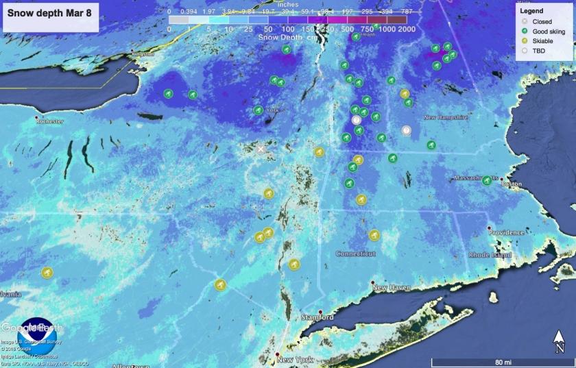 Snow depth in Northeast US Mar 8