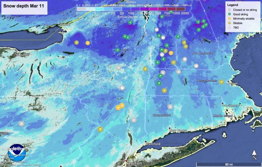 Snow depth in Northeast US Mar 11