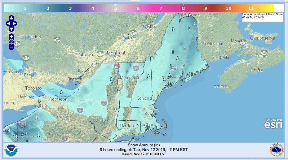 NWS snowfall forecast for 2019-1112
