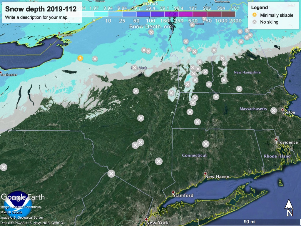 Snow depth in Northeast US 2019-1112