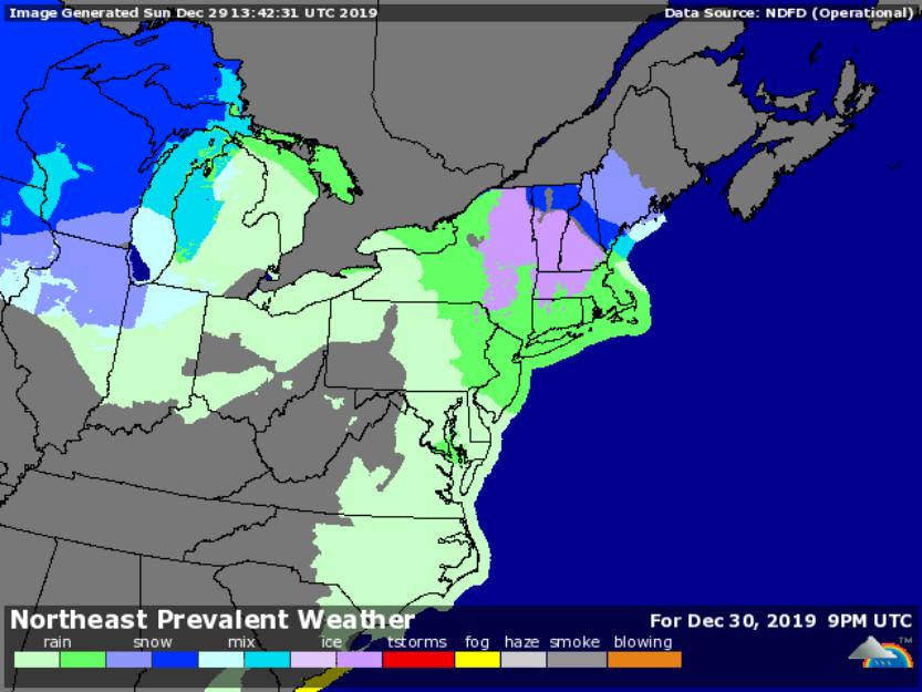 Forecast for 4pm Dec. 30