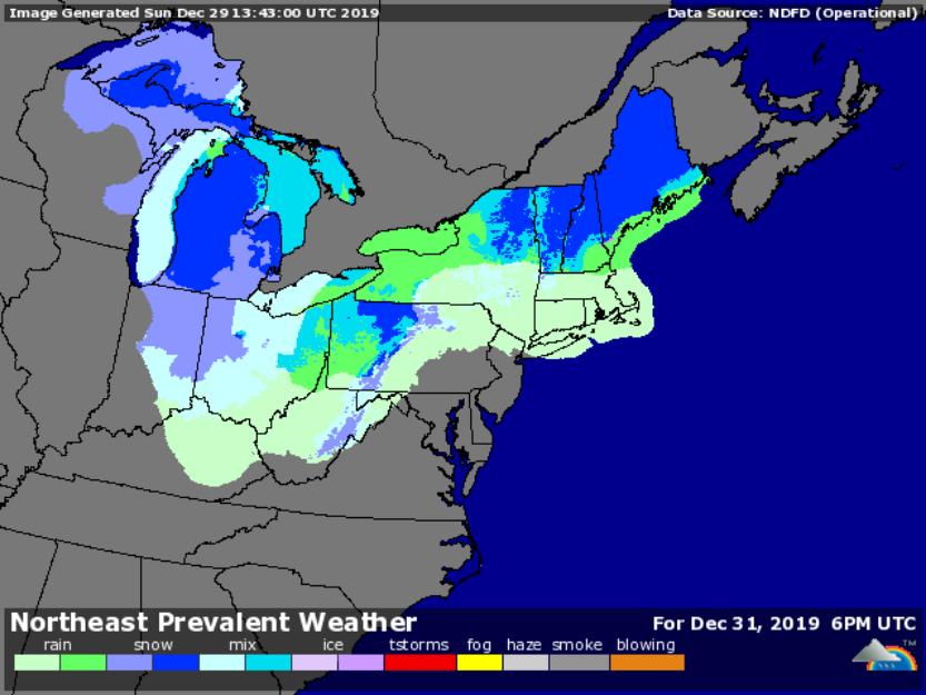 Forecast for 1pm Dec. 31