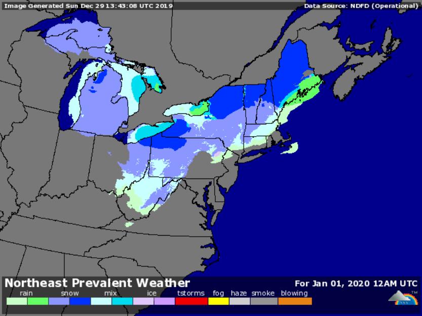 Forecast for 7pm Dec. 31