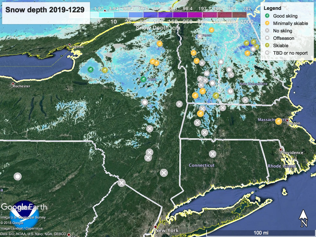 Snow depth map of northeast US, 2019-1229, with ski centers mapped