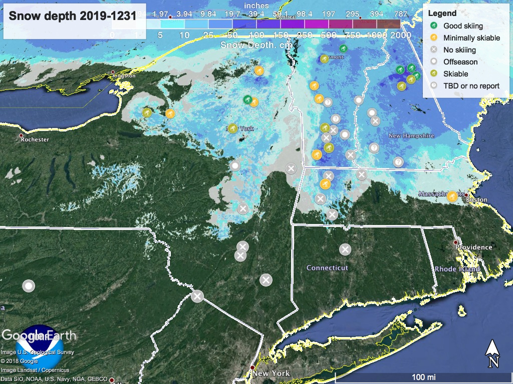Snow depth northeast US 2019-1231, with ski touring centers