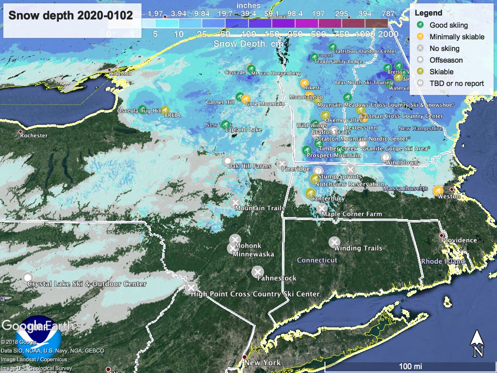 Snow depth northeast US 2020-0102, with touring centers