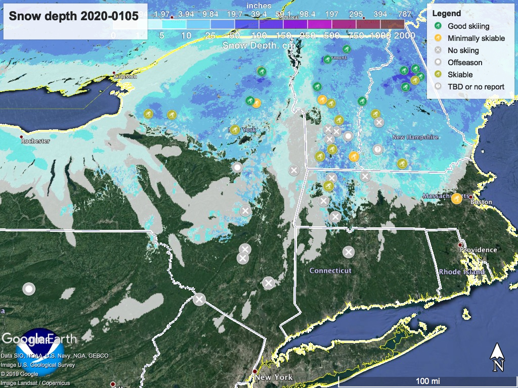 Snow depth northeast US, 2020-0105 with ski touring centers locations