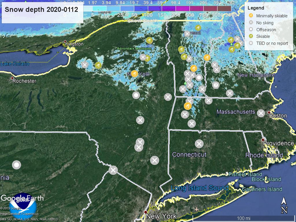 Snow depth, northeast US 2020-0112 with touring centers marked