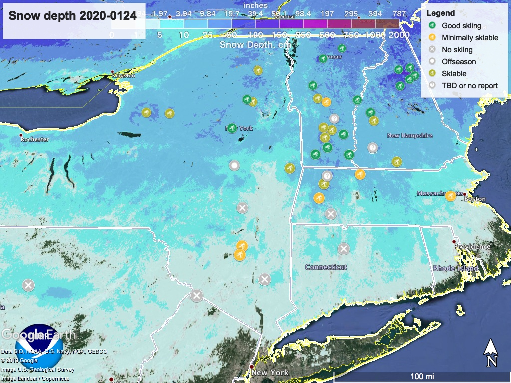 Snow depth northeast US Jan.24, with touring centers marked