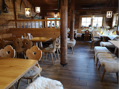 Interior of Alpine restaurant on Winklmoosalm