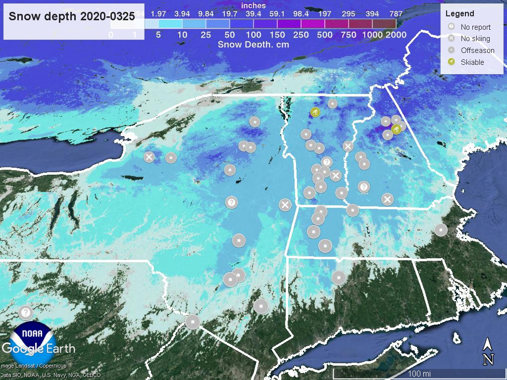 Snow depth with ski centers marked, 2020-0325