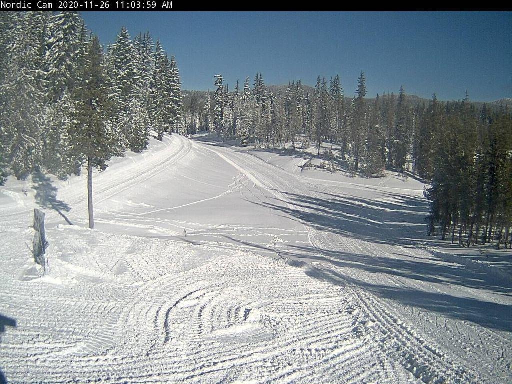 Abundant snow and sunshine at Mt. Bachelor park, Oregon, November 26 2020