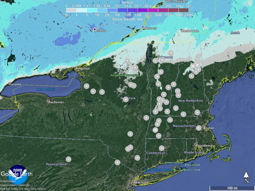 Snow depth Northeast US, November 26 2020