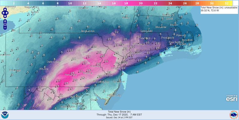Total new snow forecast for Dec. 17 2020, 7am