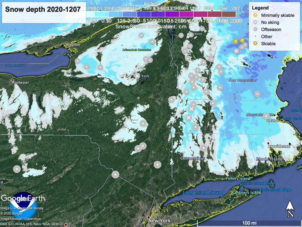 Snow depth northeast US, Dec. 7 2020