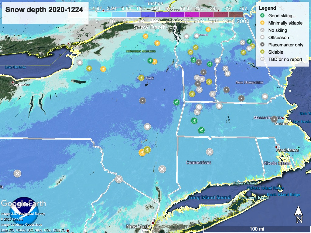 Snow depth northeast US, Dec. 24 2020