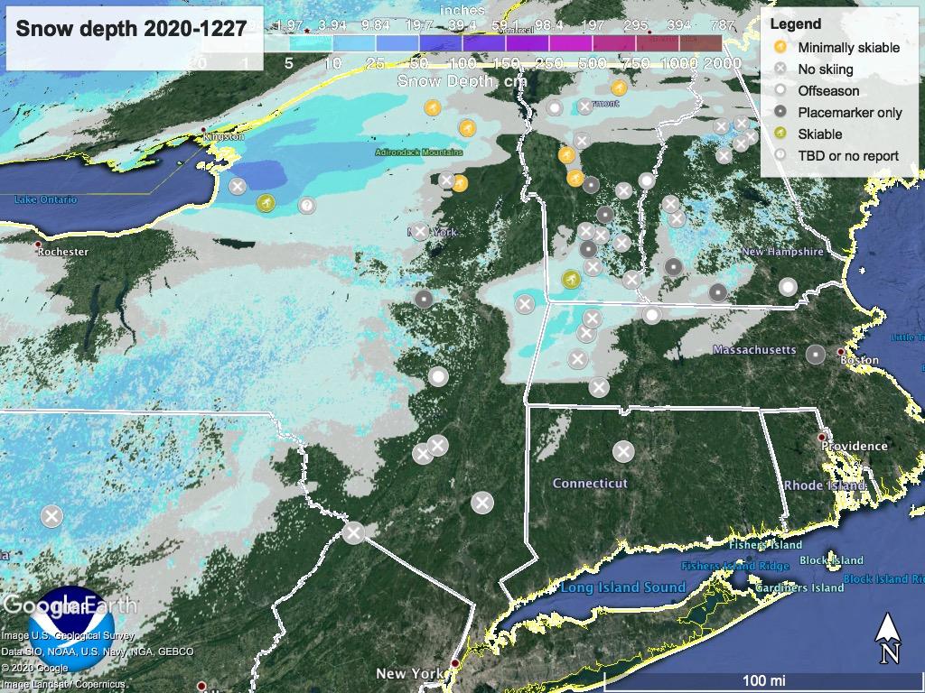 Snow depth northeast US, Dec. 27 2020