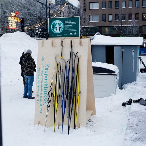 A ski sharing pick-up point in the city of Lahti Finland