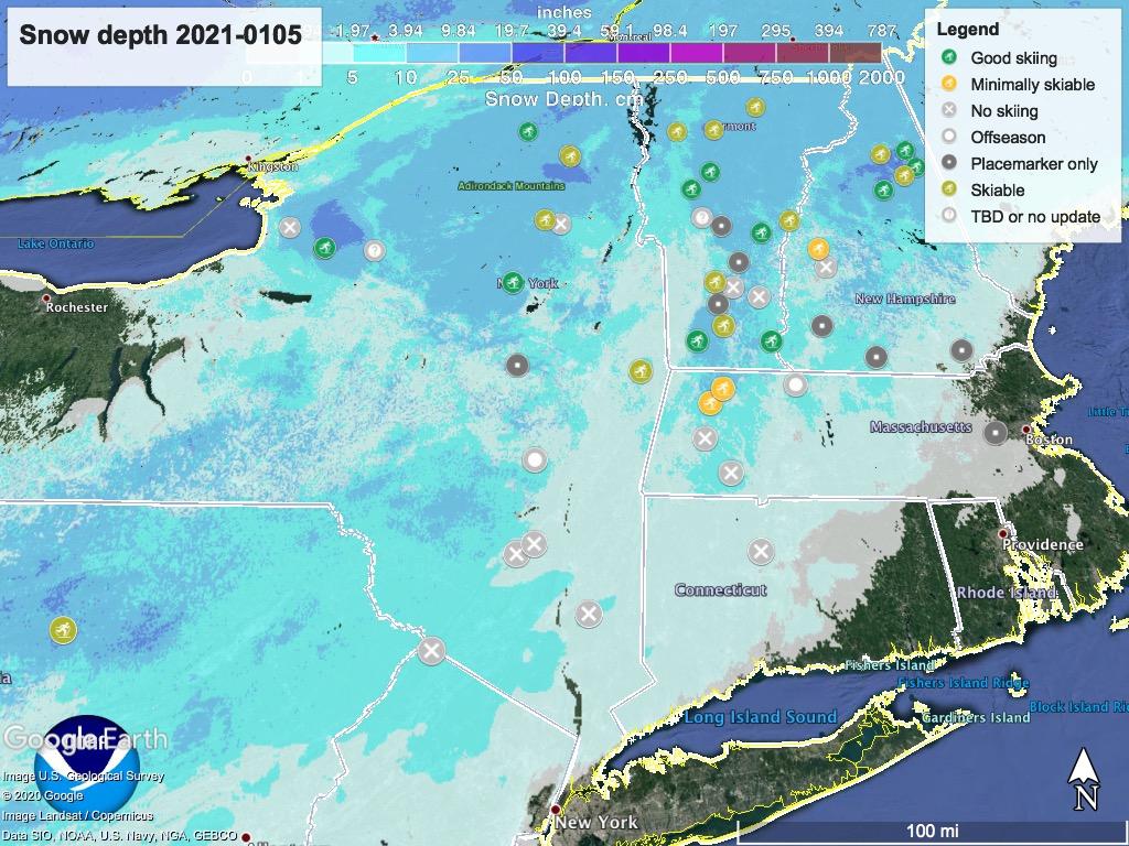Snow depth northeast US, Jan. 5 2021