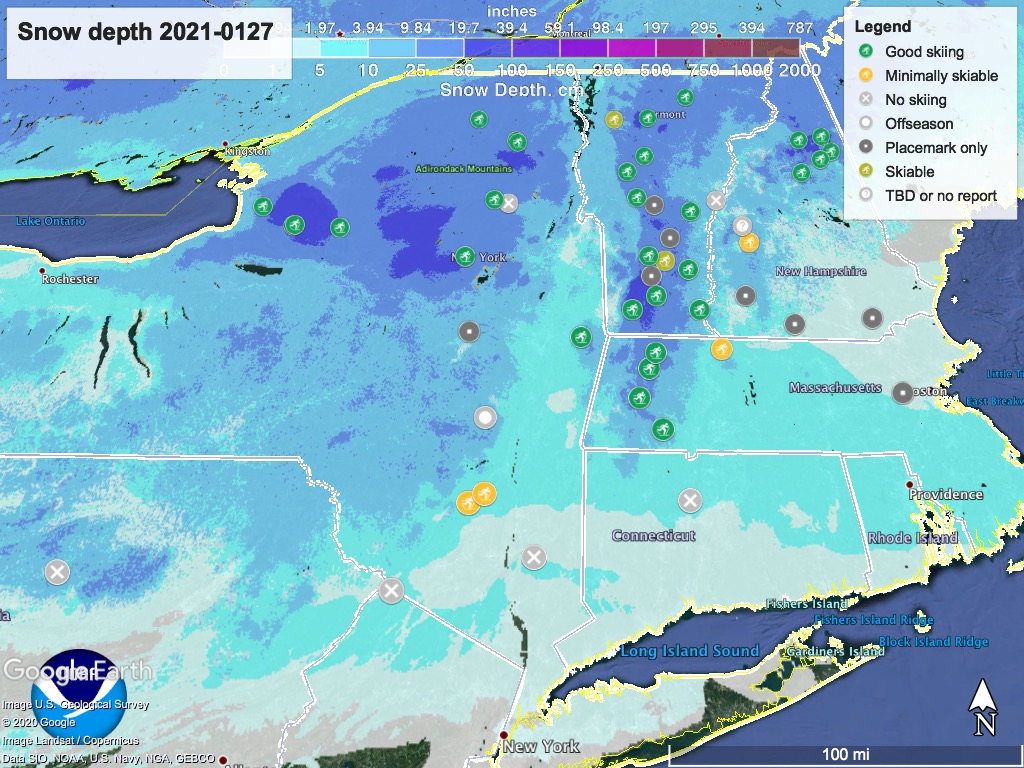Snow depth northeast US, Jan. 27 2021 (NWS) , with ski centers marked