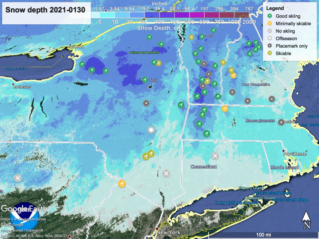 Snow depth northeast US, Jan. 30 2021