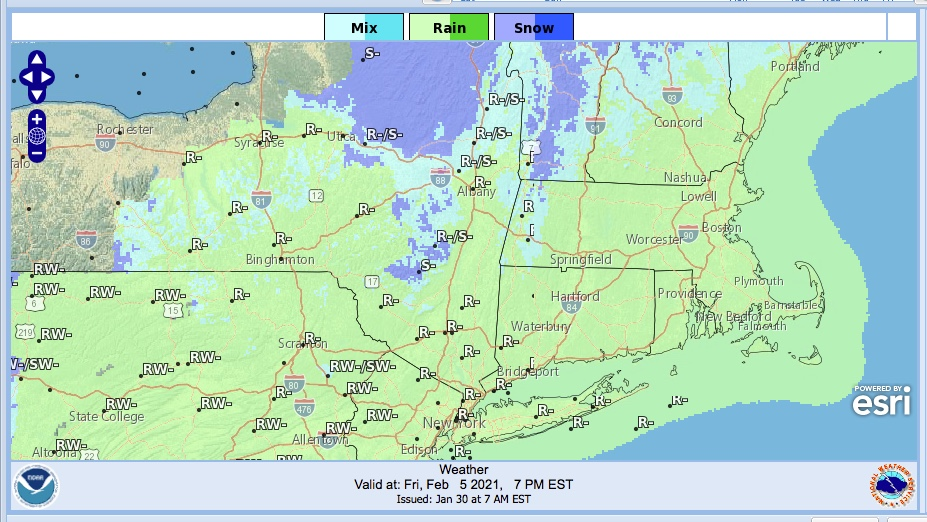 Weather forecast graphic for northeast US, Feb. 5 2021, 7pm