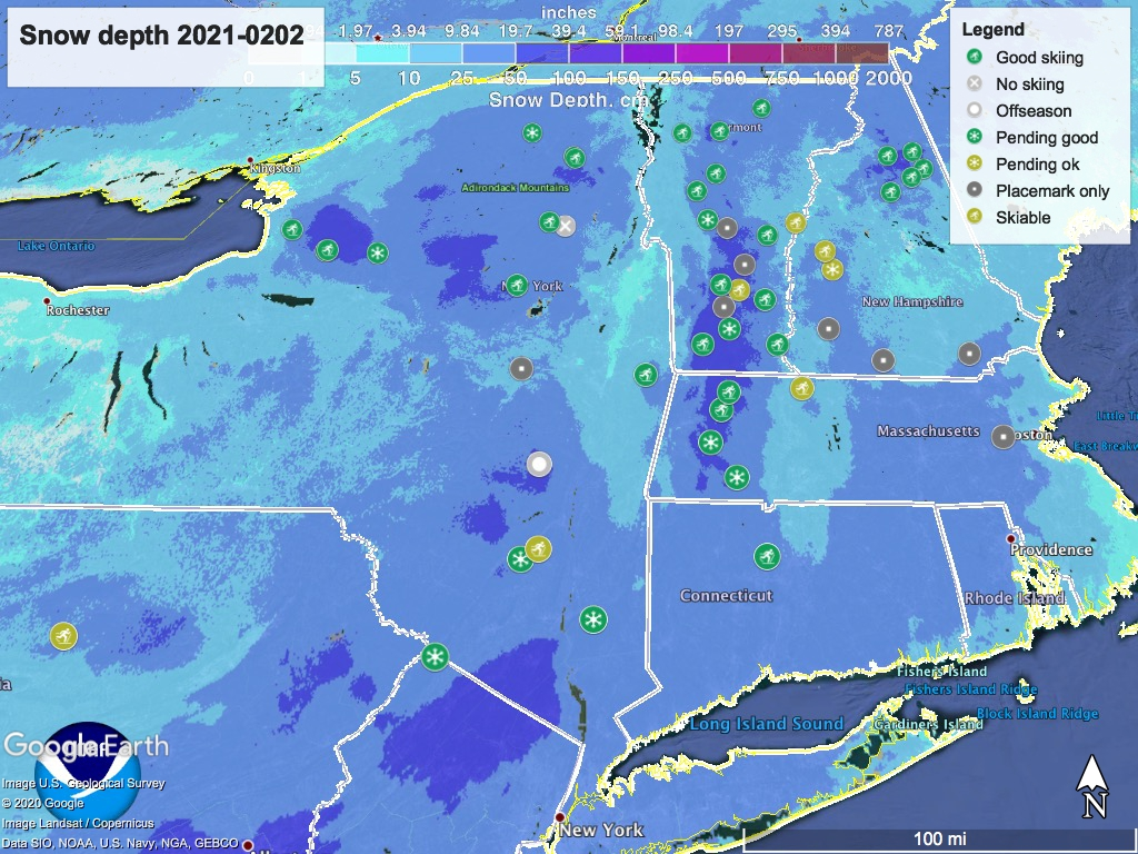 Snow depth northeast US,Feb. 2 2021