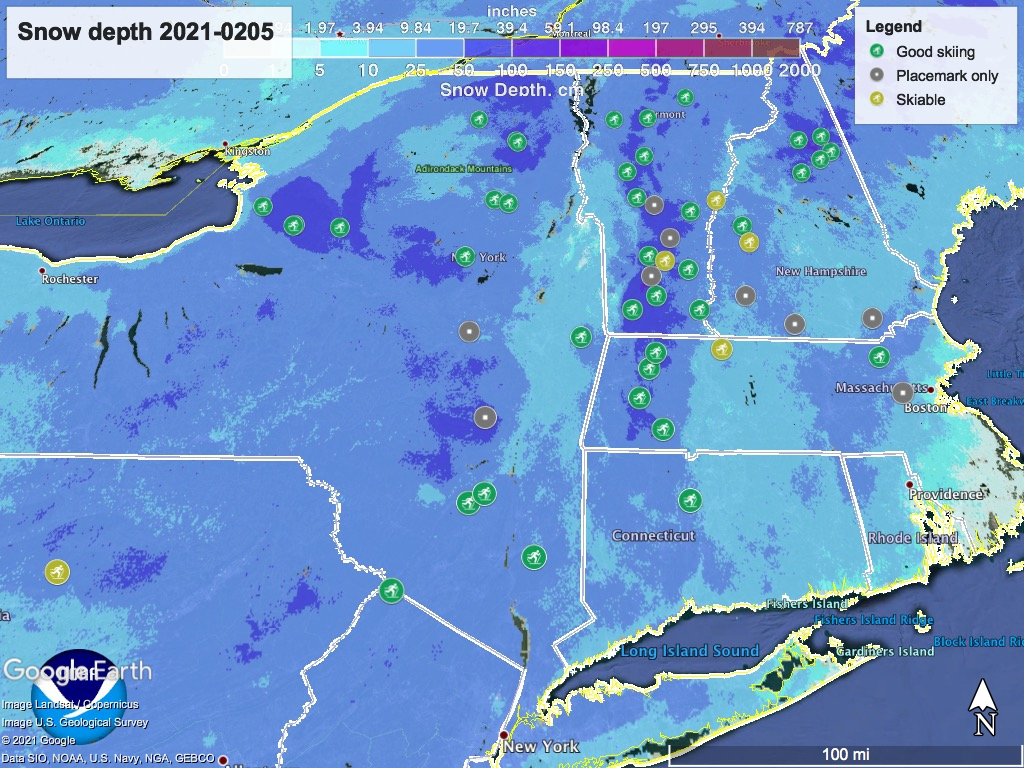 Snow depth northeast US, Feb. 5 2021