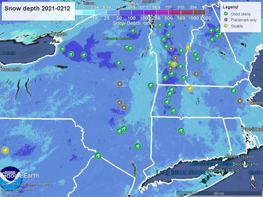 Snow depth northeast US, Feb. 12 2021 (NWS) , with ski centers marked